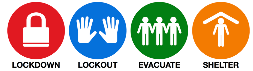 lockdown lockout shelter evacuate icons