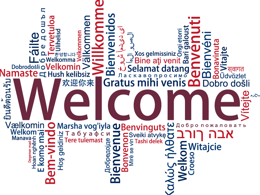 works cloud- welcome in many languages