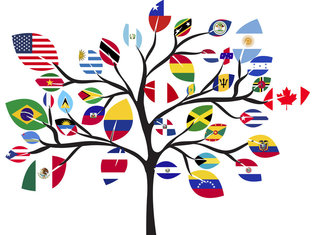 tree with flags of the world