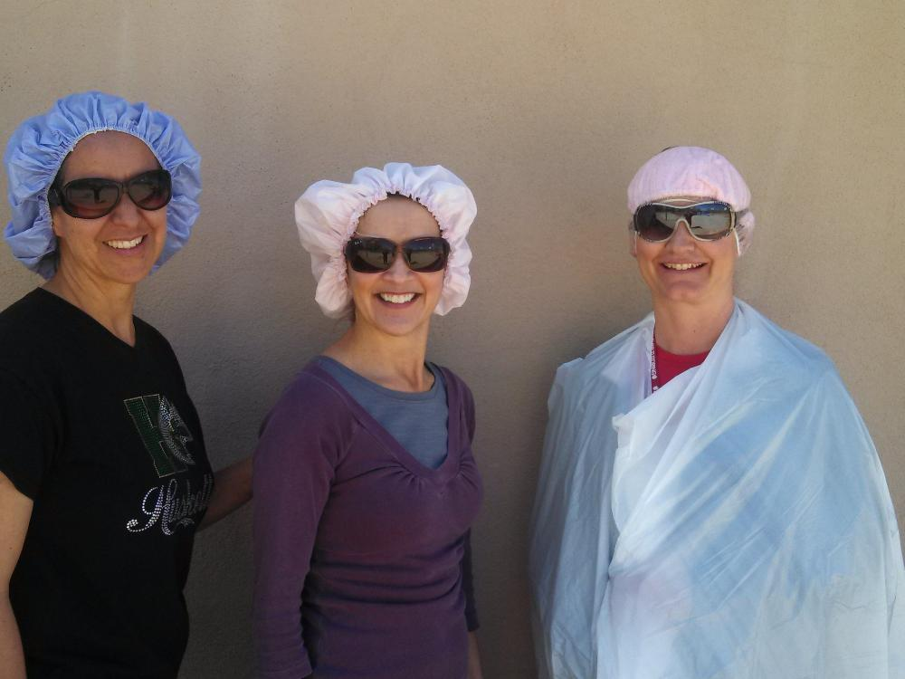 Ms. Olague, Ms. Archuleta, and Ms. Watson being silly to help the kids  de-stress during the SBA