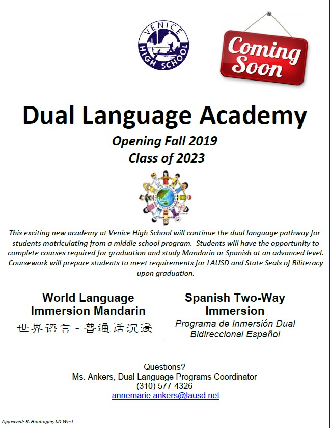 Dual Language Academy Information sheet