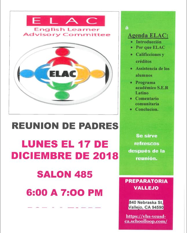 ELAC Dec. 17 Flyer Spanish