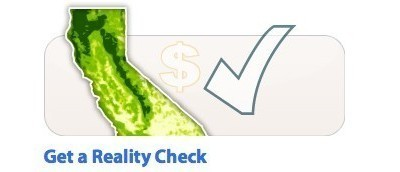 Picture of state of California with a dollar sign and a check mark