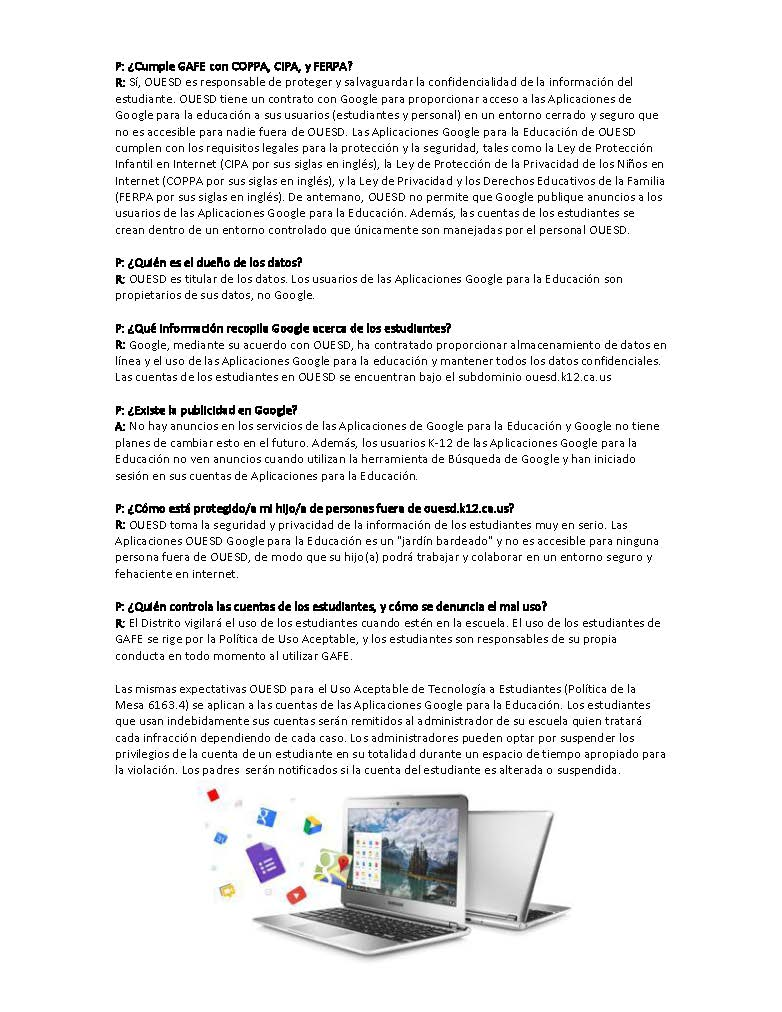 Google for Education  GAFE  Parent Letter September 2016 - Spanish Page 2
