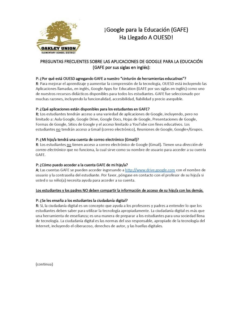 Google for Education  GAFE  Parent Letter September 2016 - Spanish Page 1
