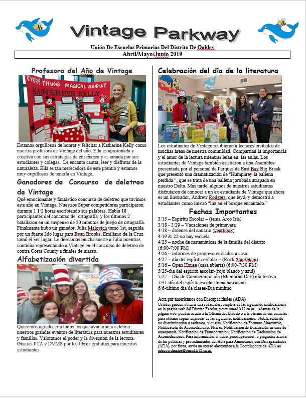 Current Newletter in Spanish