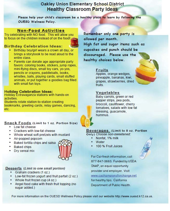 Healthy Classroom Party Ideas flyer  English
