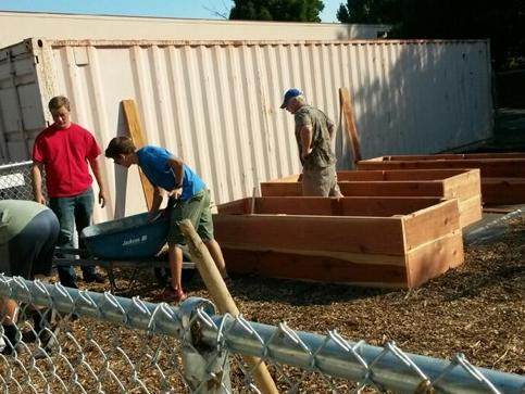 Boy Scouts helping our garden project