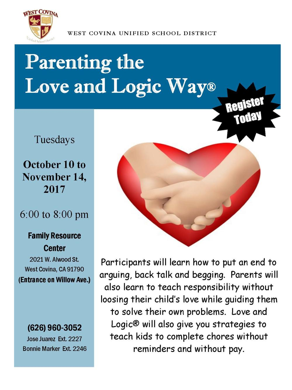 Parenting the Love and Logic Way Flyer