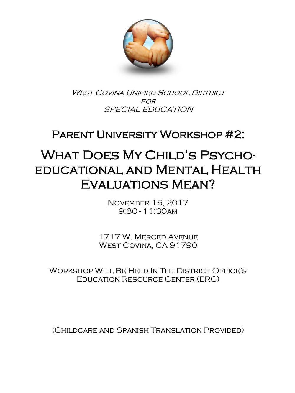 Parent workshop on psychoeducational and mental health evaluations