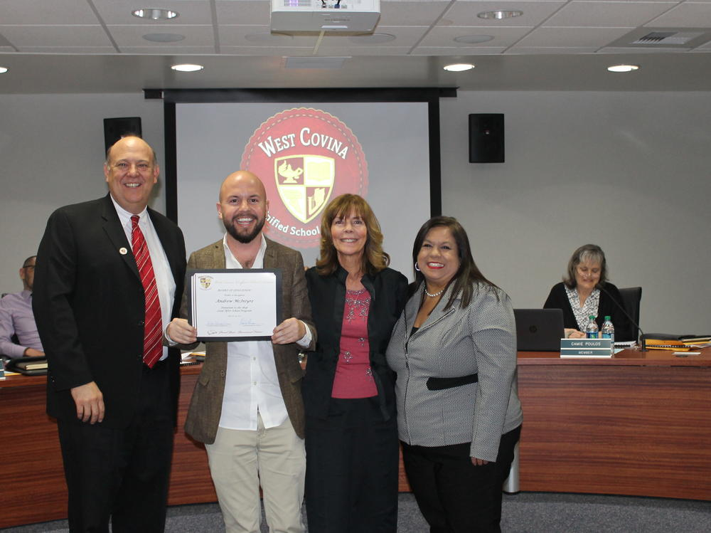 The March 14, 2017 Board of Education meeting began with WCHS Drama Club  presenting a couple of numbers from their smash musical, In the Heights. Then,  EHS student Sabrina Keeter was honored for her PTA Reflections entry, which is  competing on a national level. Last but not least, Andrew McIntyre was  recognized and thanked by the Board for his generosity to the District, the  latest being a big contribution to the Shop Local After School Program.