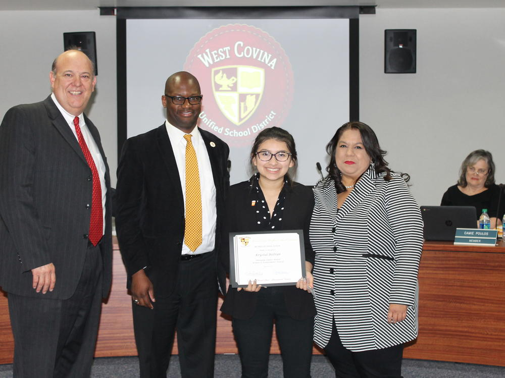After being delighted with the performace of Merlinda Kindergarten s Poetry  Cafe, the Board honored the students who won both in the Art and Essay contests  at the 2017 Cherry Blossom Festival. Finally, Student Board Member and WCHS  student Krystal Beltran was honored for her Emerging Leader Award presented to  her at the Women of Achievement Awards!