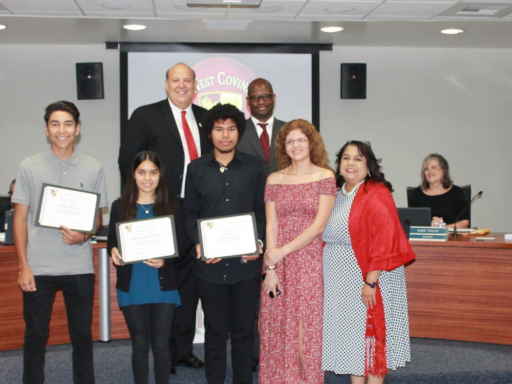 At the June 13, 2017 Board of Education Meeting WCHS students were being  honored for their achievements in the West Covina Beautiful Poster Contest and  the ROP Merit Awards. Congratulations to these outstanding students!