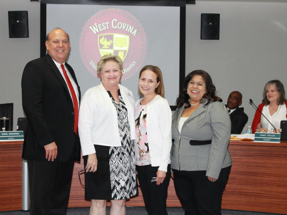 At the last Board meeting of the 2016-2017 school year, the Board recognized  our outstanding AFJROTC for their Distinguished Unit and Silver Star Award!  They also welcomed new employees Jeff Peiten, Chief Facilities Director and  Damian Kessler, Principal of Merced Elementary. Lastly, the Board congratulated  new Vine Principal Valarie Jaramillo for her promotion and wished all of them  much success.