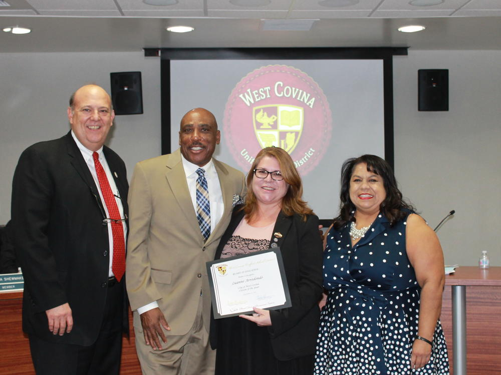 At the September 12 Board Meeting, the Board honored Luanne Arredondo, West  Covina s Citizen of the Year, praising her work not only for the community, but  specifically for the students of our District. Also on hand for their first  meeting were our 2017 - 2018 Student Board Members, Christopher Elizondo, Man  Tang, and Kevin Phan.