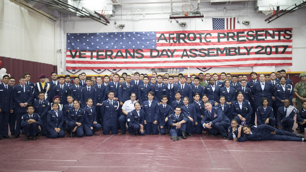 Air Force Junior ROTC students gathering for a picture