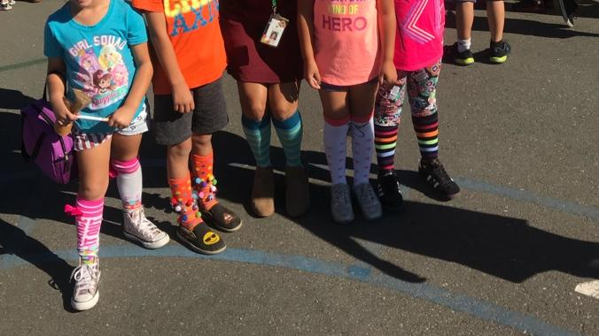 Green Students wear CraZy Socks to Show Drug Free Awareness