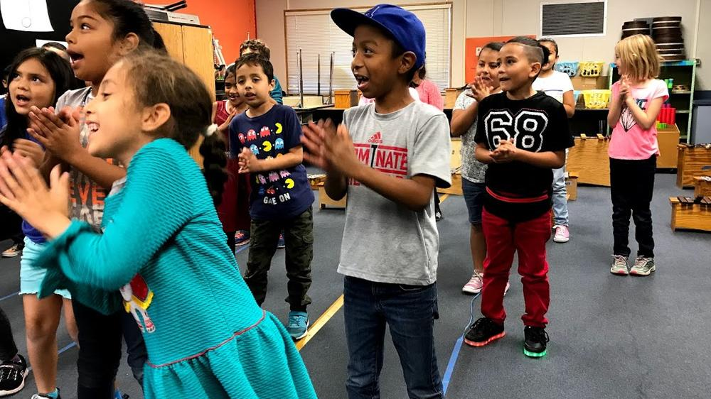 Students singing Count on me by Bruno Mars during their Music performance