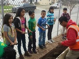 Students listening to gardening tips