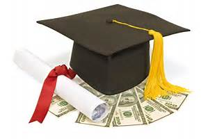 scholarship money with cap and diploma