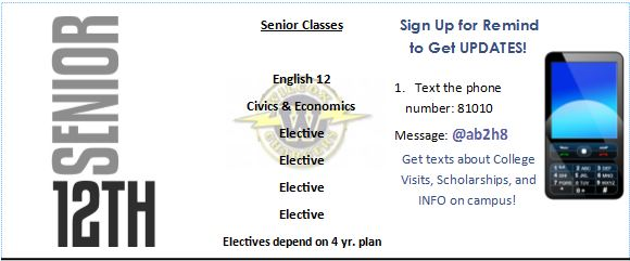 senior classes and update text sign up