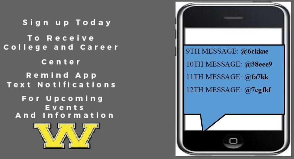 Sign up for college and career center remind app text notification