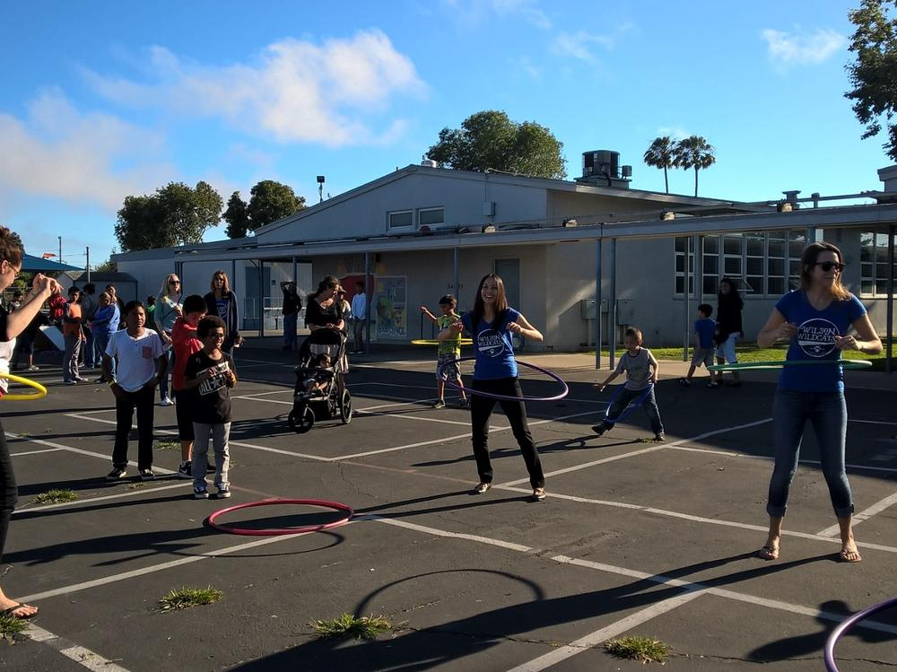This is a Hula hoop competition from our Wilson Family Night.
