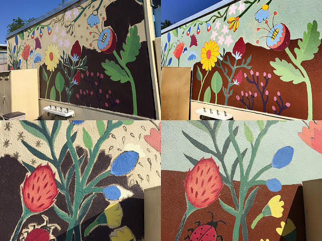 On Saturday, October 7, a team of UCLA freshman students Bruins took the bus up  from Westwood to paint murals and touch up badly chipping walls to beautify the  campus at Winnetka