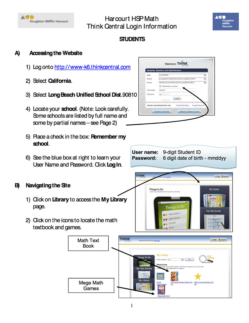thinkcentral student text instructions