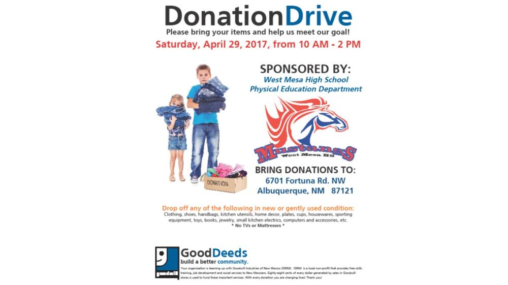 West Mesa Donation Drive to benefit our Physical education department Saturday  April 29th from 10 00 am to 2 00 pm