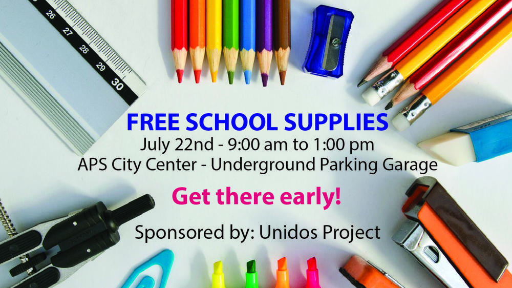 Free School Supplies Sponsored by Unidos Project