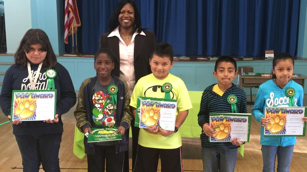 Principal Mrs. Choyce with Perfect Attendance Award Recipients for 4th Grade