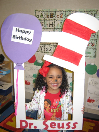 child celebrating Dr.Suess bday