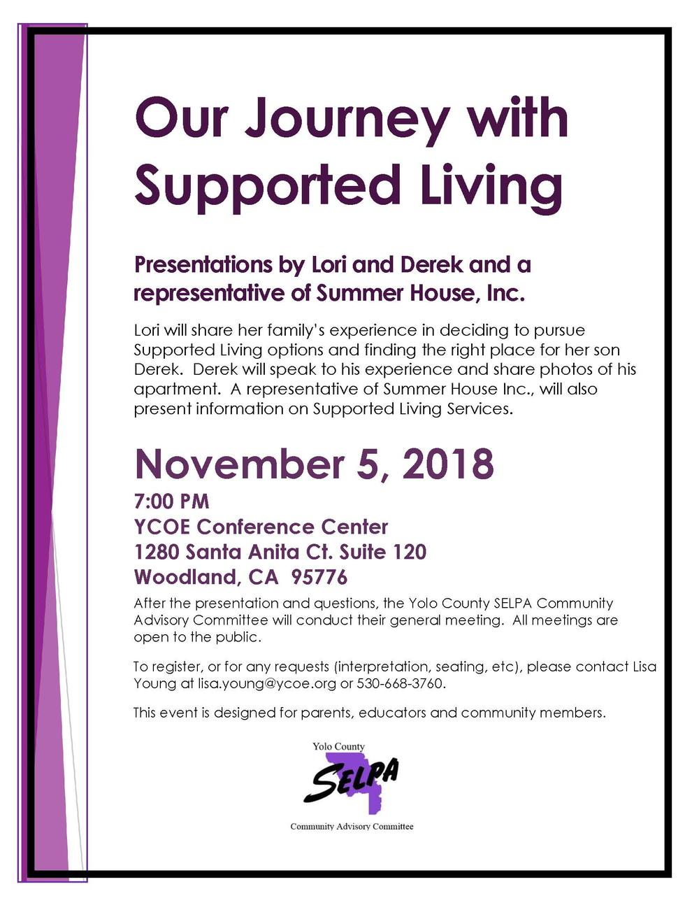 Our Journey with Supported Living Flyer