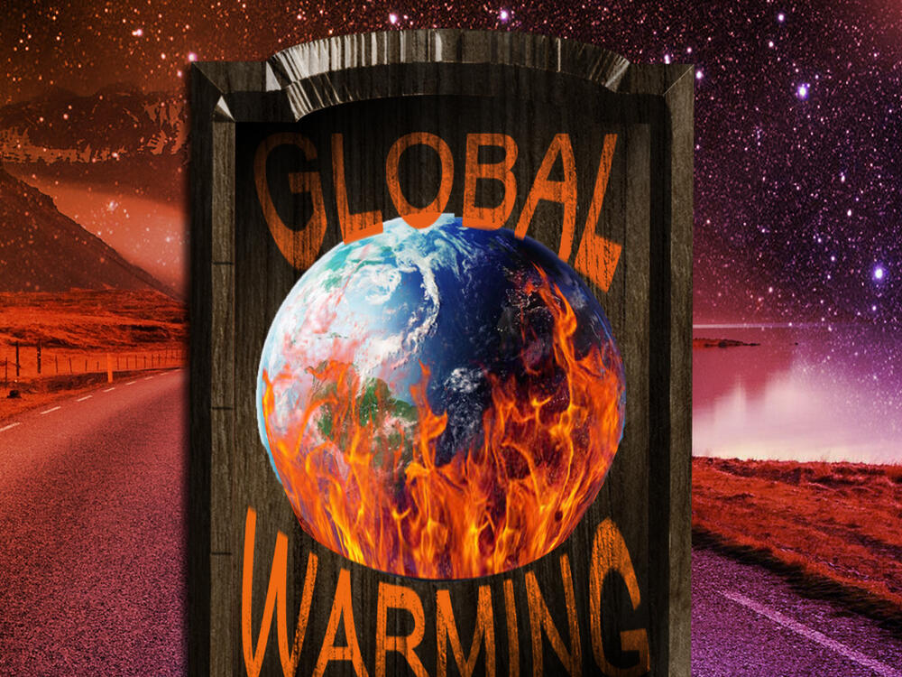 Digital Imaging Global Warming Poster with the Earth with flames inside a frame  and outerspace