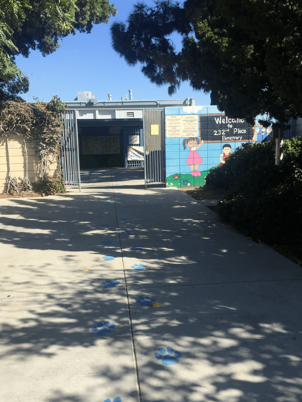 school entrance by marquee