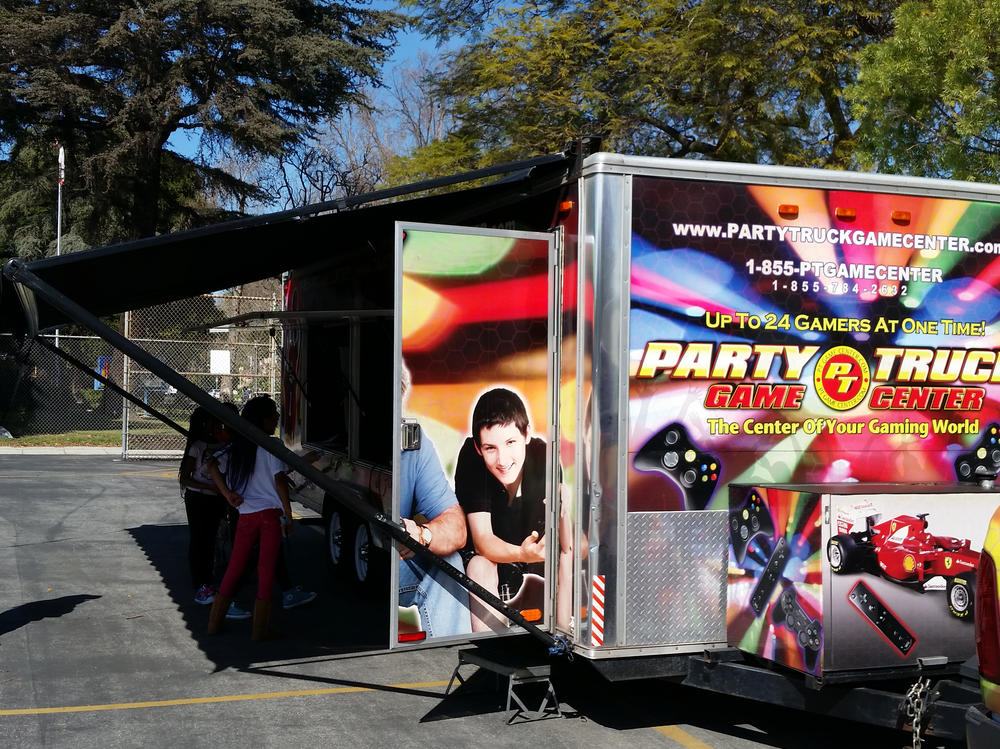 Children with a perfect attendance this month got to play with the Party Truck!
