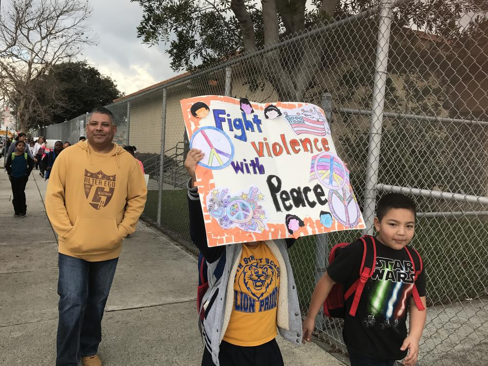 Our students marching for peace to commemorate the life of Martin Luther King,  Junior