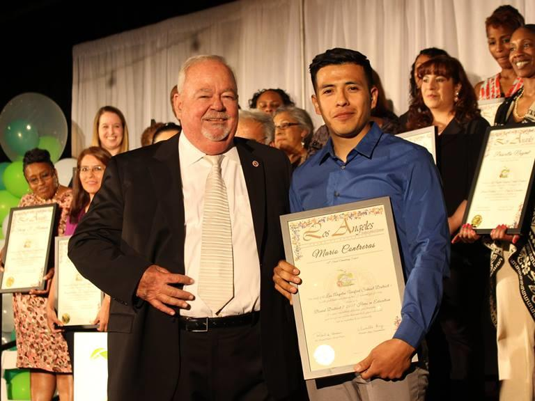 On Friday evening, March 24, 2017, Mr. Contreras, among other LAUSD employees  and community members, received from the LAUSD Board of Education Hero in  Education Award plus a Certificate of Recognition from the city of Los Angeles  from Councilman Joe Buscaino, 15th District. The ceremony was extremely  inspiring to hear about the wonderful contributions that individuals have made  to the field of education. Thank you, Mr. Contreras, for representing 66th  Street Elementary School as our Hero in Education!!