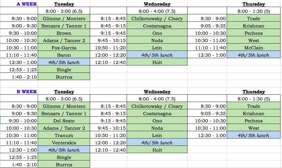 This Year's Class Library Visit Schedule