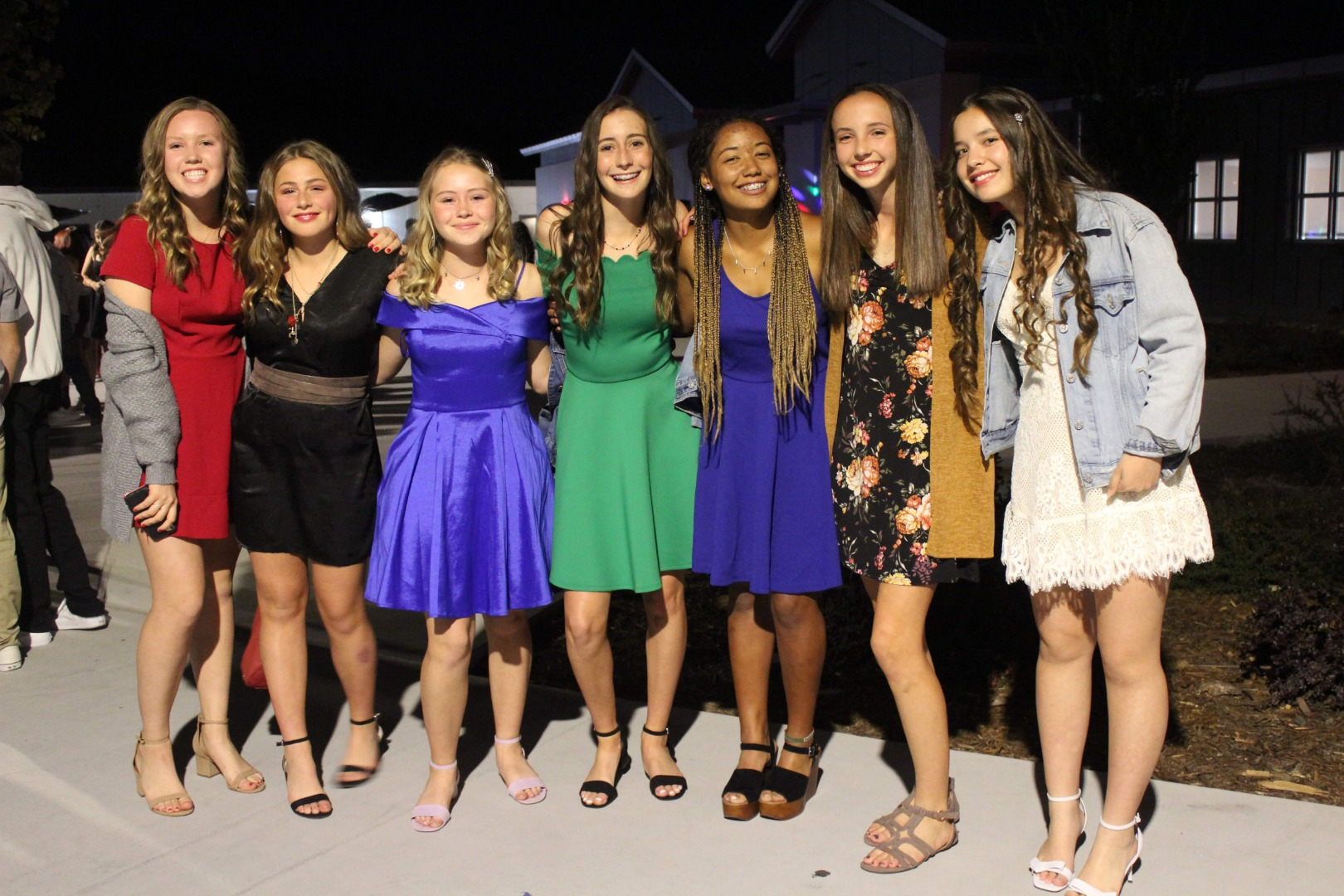 Seven students at the homecoming dance