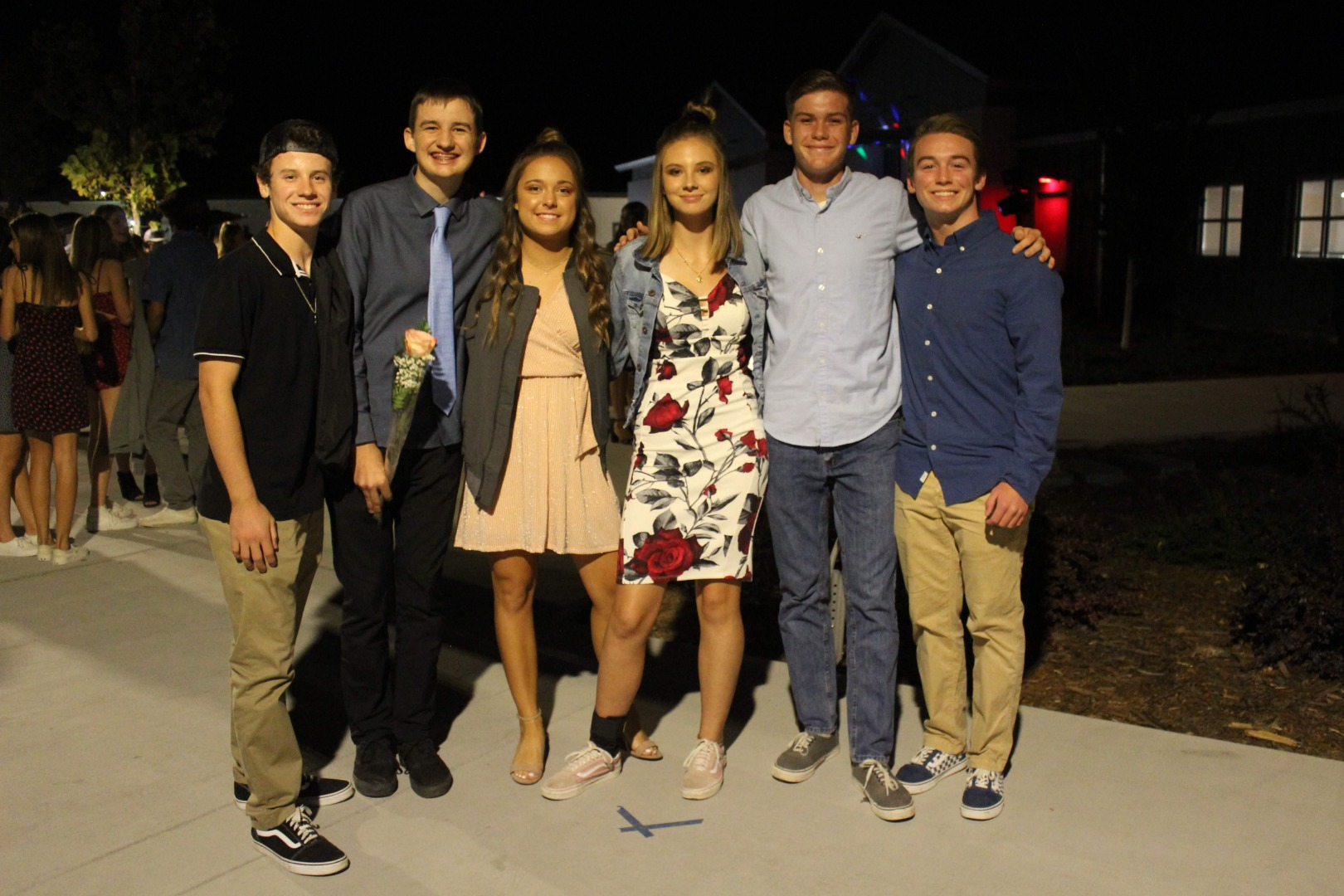 Six students at the homecoming dance