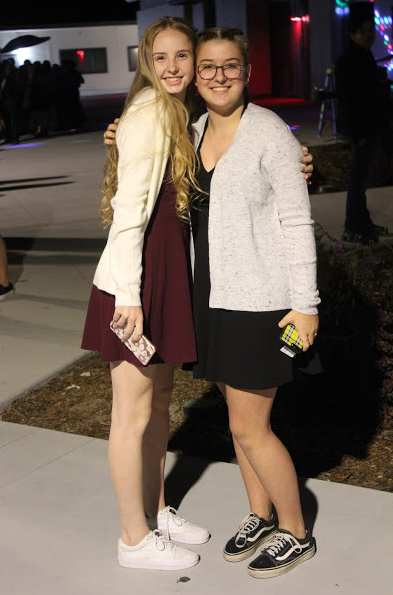 Two students at the homecoming dance