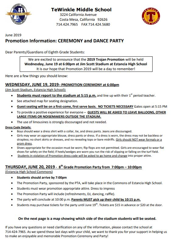 8th grade promotion/dance information