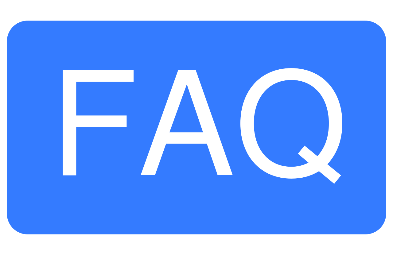 Enlarged letters spelling FAQ against a blue background.