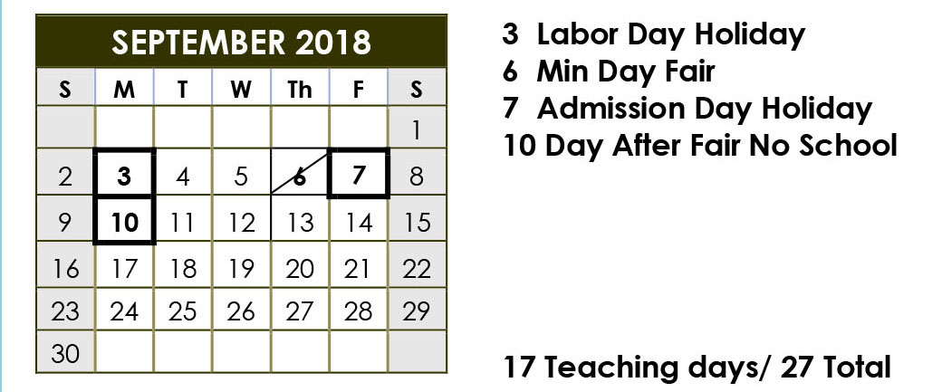 September District Calendar 2018