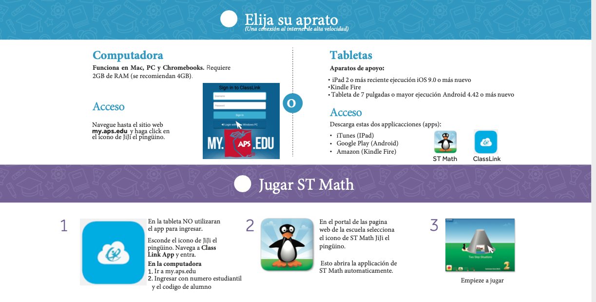 Instructions for signing into ST math in Spanish