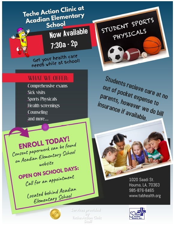 Flyer for the Teche Action Clinic At Acadian School