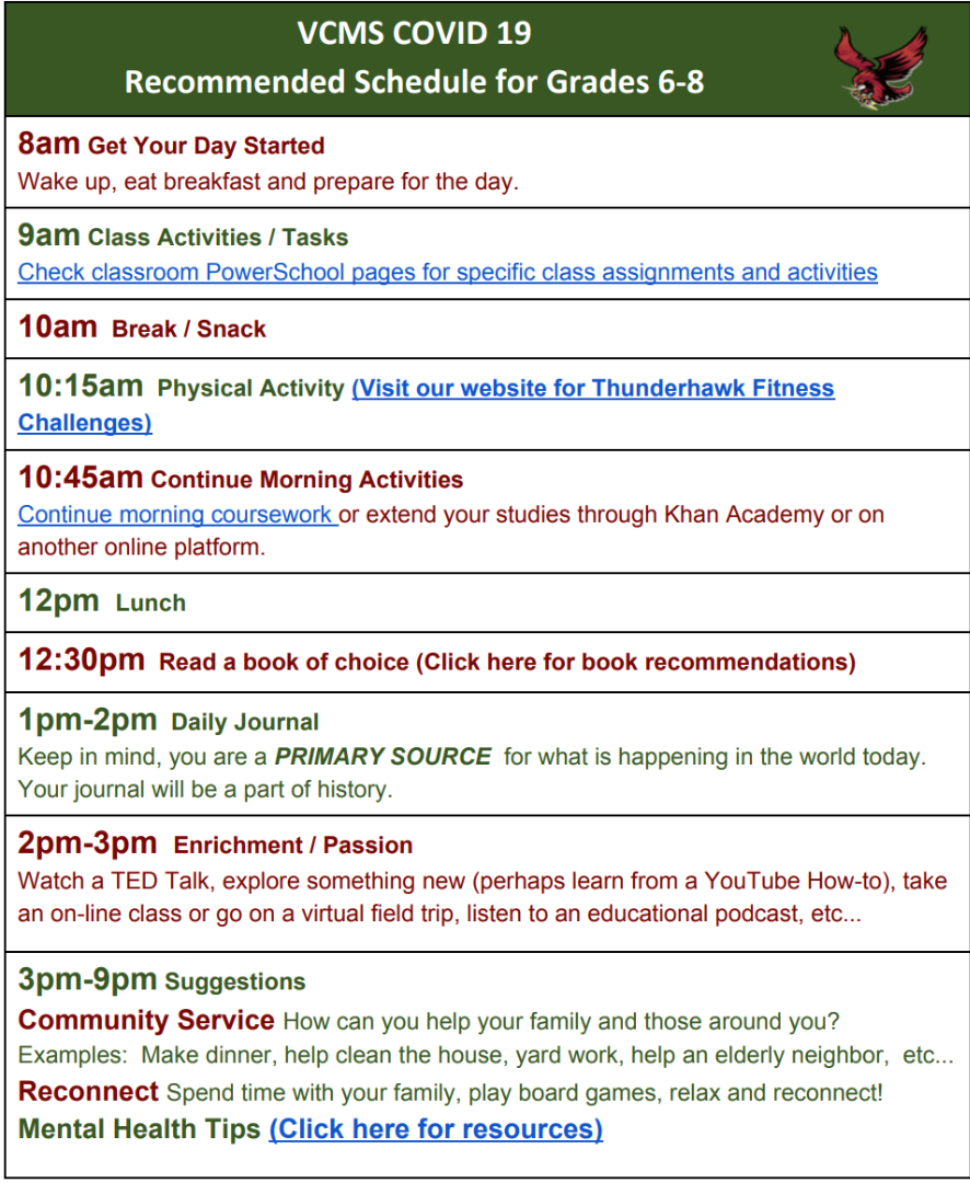 recommended schedule