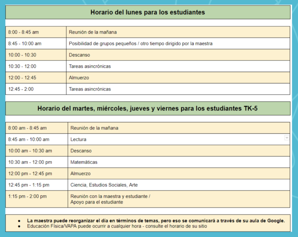 Distant learning Schedule (Spanish)